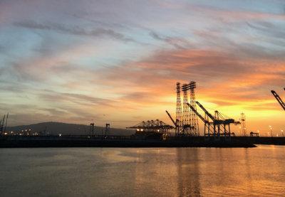 cargo cranes at the port