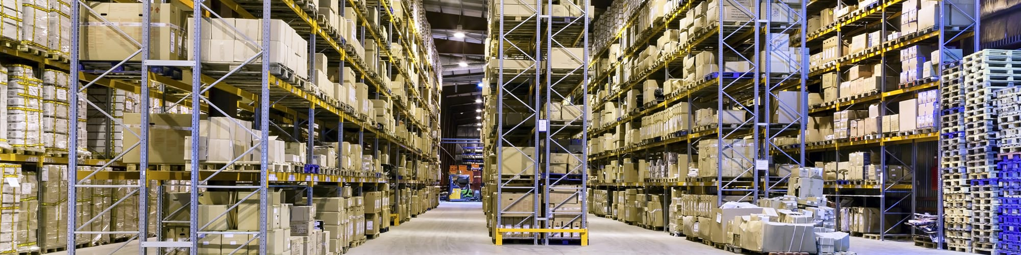 Inside the warehouse with full of goods in the racks